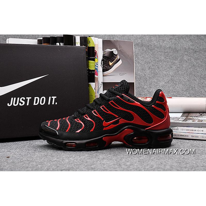 huge discount e4fce 52b27 Hot Nike AIR MAX Tn Classic Retro Shoes Black And Red Nanotechnology KPU  Material Durable Non-rupture Men Shoes For Sale