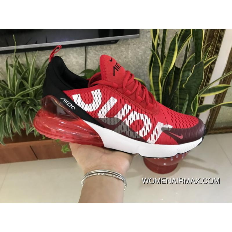 MAX270sup White Red Supreme X Nike Air Max 270 Series Heel Half-palm Cushion Jogging ...