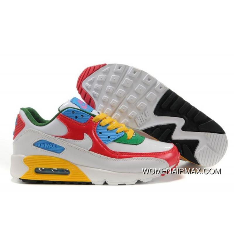 Womens Nike Air Max 90 Shoes White Red Blue Green Yellownike Free Trail