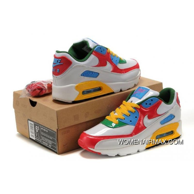 Womens Nike Air Max 90 Shoes White Red Blue Green Yellow,nike .
