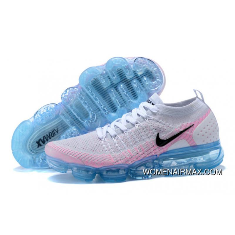 100% authentic 4821e 047aa 2018 Nike Lab Air Vapor Max X Womens Nike Vapormax Flyknit 2.0 White  Black-Hydrogen Blue-Pink Beam New Style