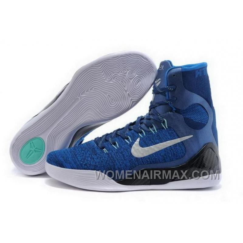 Buy Cheap Nike Kobe 9 High 2015 Blue White Mens Shoes