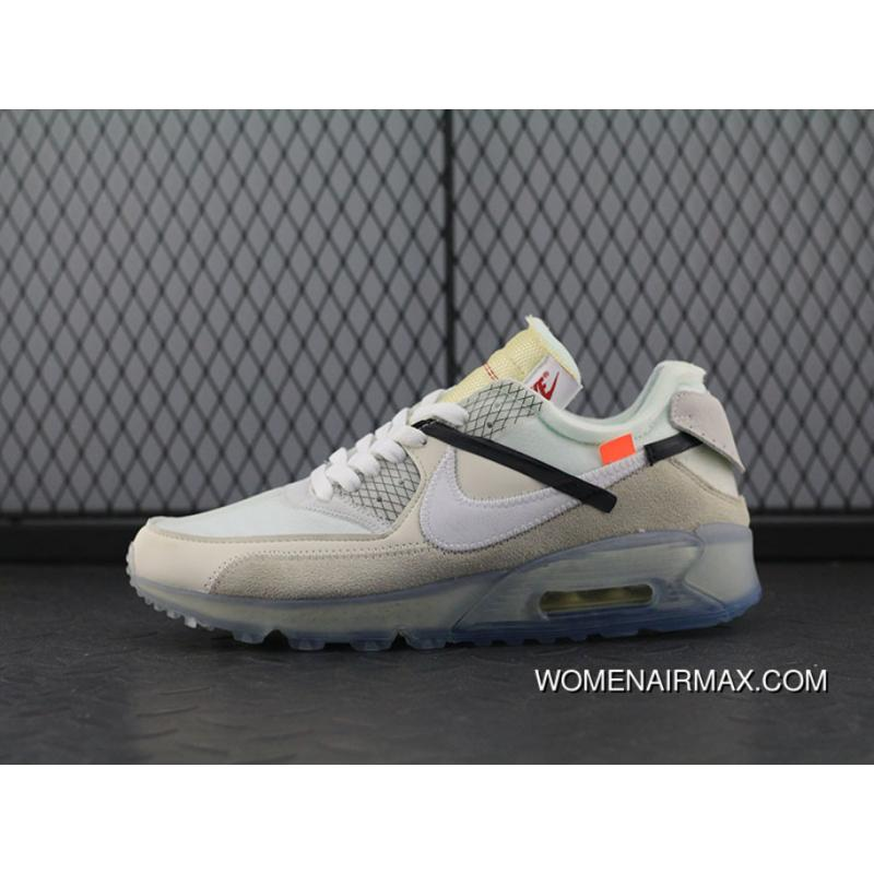 OFFWHITE Nike Air Max 90 X Zoom Jogging ShoesOFFWHITE Grey Ice Blue Bottom AA7293100 Women Shoes And Men Shoes New Release
