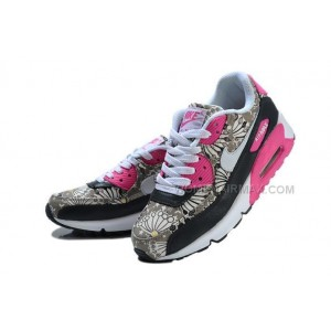 Nike Air Max 90 Womens Shoes New Black Pink Print
