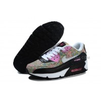 Nike Air Max 90 Womens Shoes New Black Pink Flower