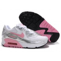 Nike Air Max 90 Womens Shoes Wholesale White Pink Sliver