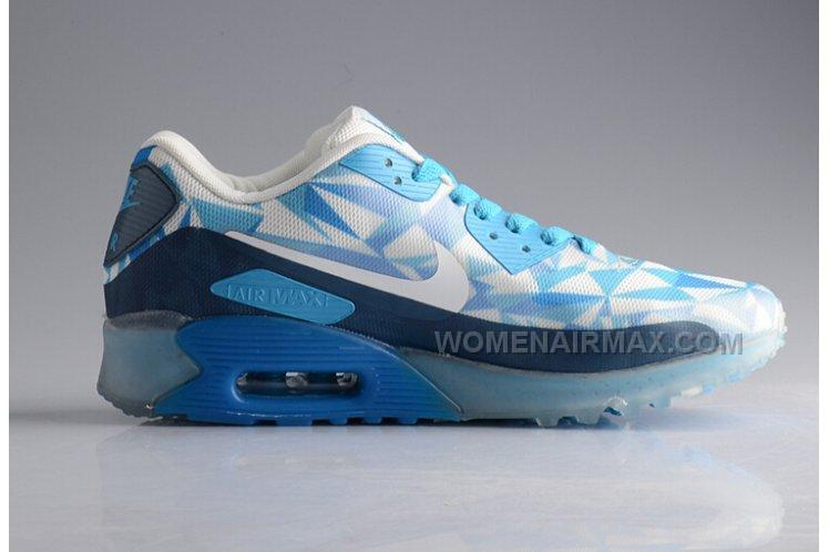 9f1d383abebc6f ... Nike Air Max 90 25TH Anniversary ICE Diamond Womens Running Shoes  Transparent White Blue Online Sale ...