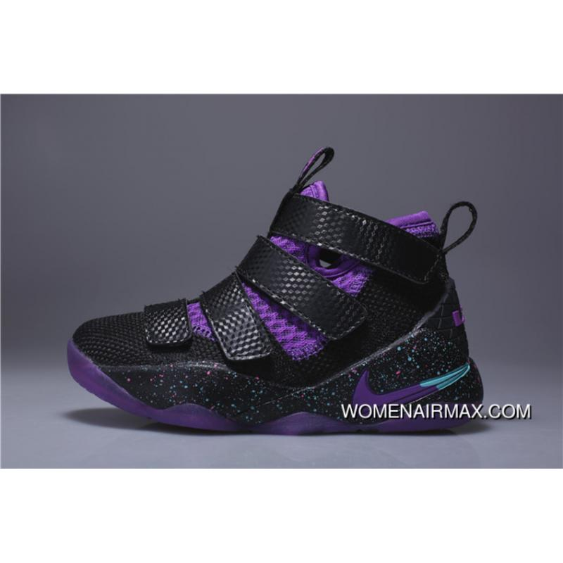 new concept 78a0e fed96 Kids Nike Lebron Soldier 11 Black Purple 2018 Summer New For Sale