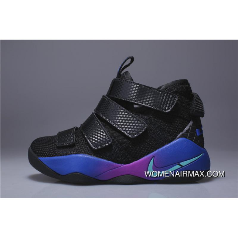 brand new 6055a 1a5d5 Kids Nike Lebron Soldier 11 Black Blue Purple 2018 For Sale
