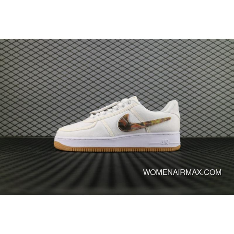 best loved 87115 07bb9 Nike Air Force 1 Low Travis Scott White Blanc Dark Fire Logo Aq4211 100 Air  Force One Shoes New Release