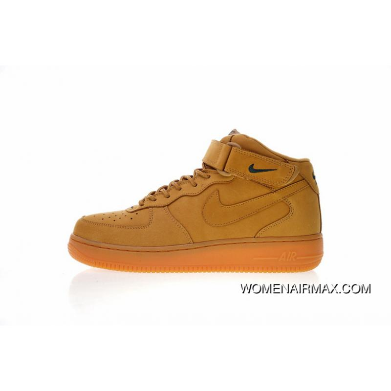 buy online bae5c c98f4 Women Shoes And Men Shoes One More Fire Wheat The Cow Full Grain Leather  Grind Arenaceous Waterproof Skin Nike Air Force One Mid 07 Flax ...
