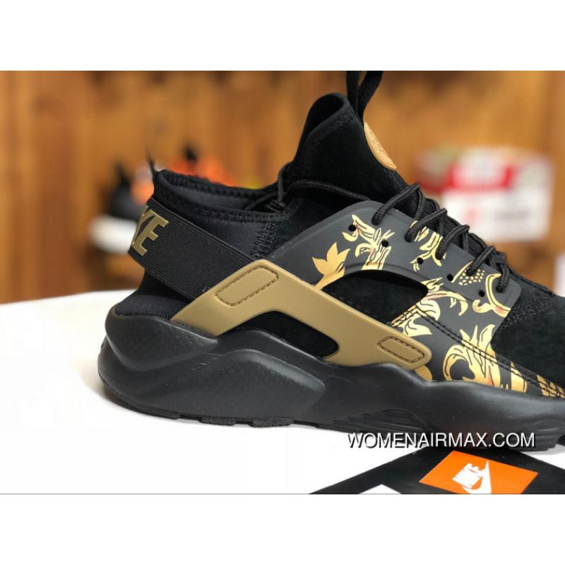 newest 3bea5 e4cf3 ... Nike Air Huarache 4 829669-661 Women Men Pig Leather Black Gold Flower  Print Online
