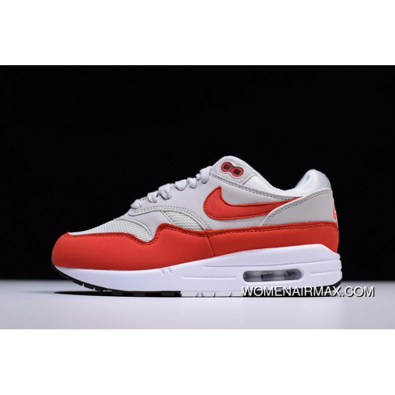 New Style Hyx62308 Nike Air Max 1 Retro Zoom All match Jogging Shoes Fresh Red Grey White 319986 035