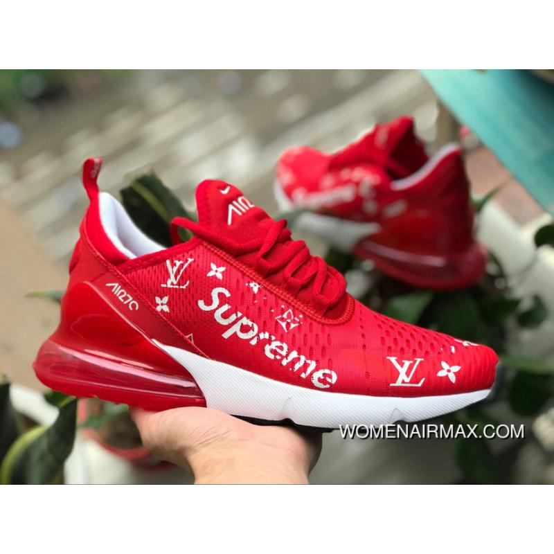 new concept 435d1 45a97 Max270 White Red NIKE AIR MAX 270 X Supreme White Red Half-palm Cushion  Ah8050-611 Size Online