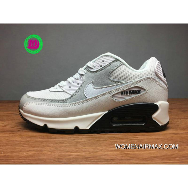 pretty nice c3066 62238 White Light Grey Action Leather 325213-126 Nike AIR MAX 90 2017 Women And  Men Sport Shoes Casual Running Shoes New Year Deals