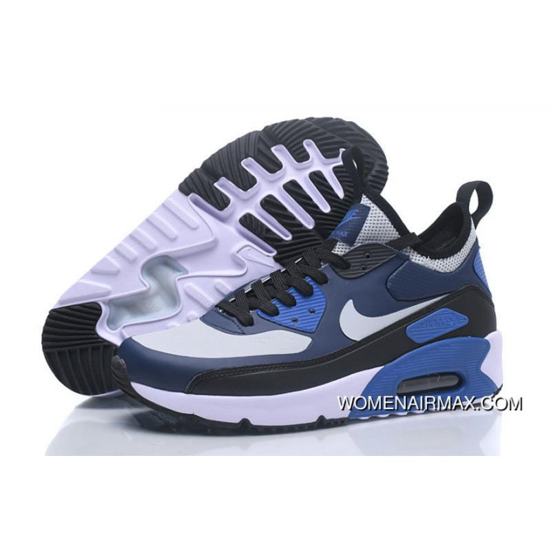 Nike AIR MAX 90 NS GPX Casual Mid Top Men Shoes White And Black Navy ... a12bcddd1