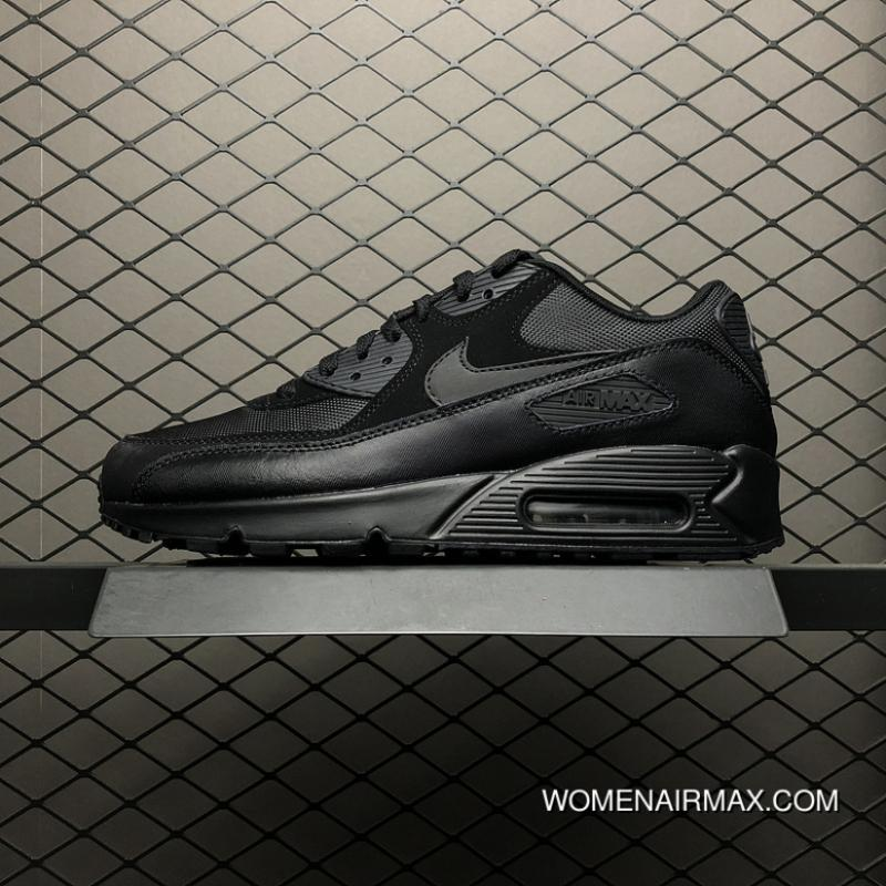 brand new 7883a d7179 Nike Air Max 90 All Black Mesh Zoom Running Shoes 537384-090 Men Shoes 9  Size Free Shipping