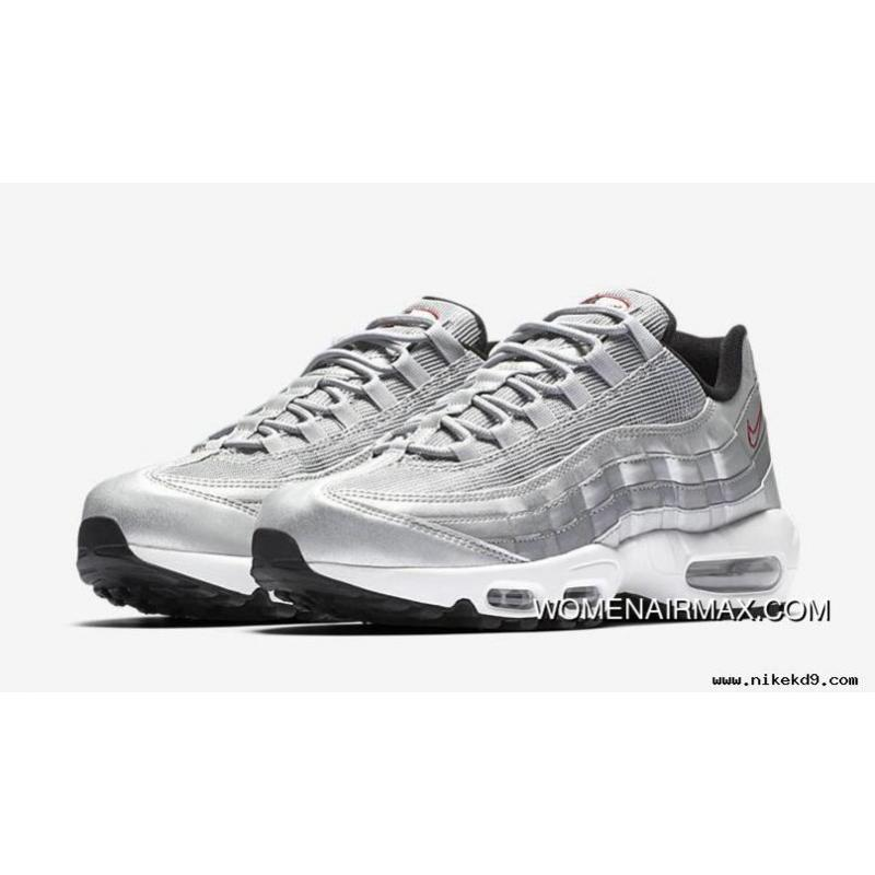 276b2b0cea24d Nike Air Max 95 Metallic Silver Varsity Red-White-Black Silver ...