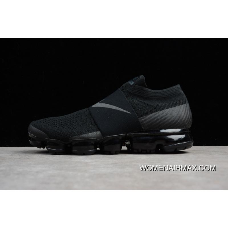 25b49546a1c07 2018 SG Version Nike Air VaporMax Laceless Without Lace-up Slip-on Steam Zoom  Air Running Shoes Triple Black AH3397-004 Women Shoes And Men Shoes 17  Outlet