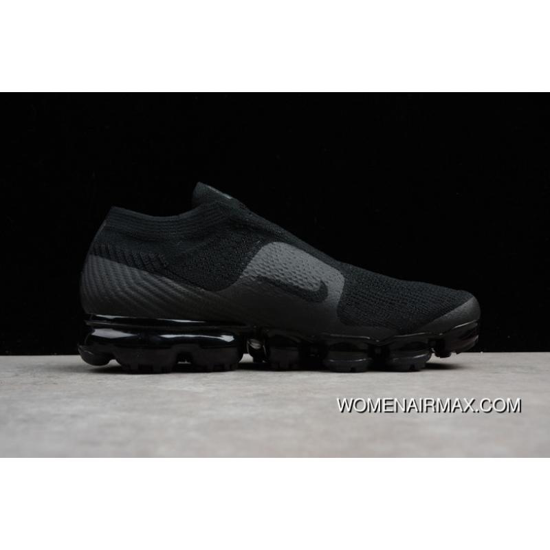 78116ab6f58 2018 SG Version Nike Air VaporMax Laceless Without Lace-up Slip-on Steam Zoom  Air Running Shoes Triple Black AH3397-004 Women Shoes And Men Shoes 17  Outlet