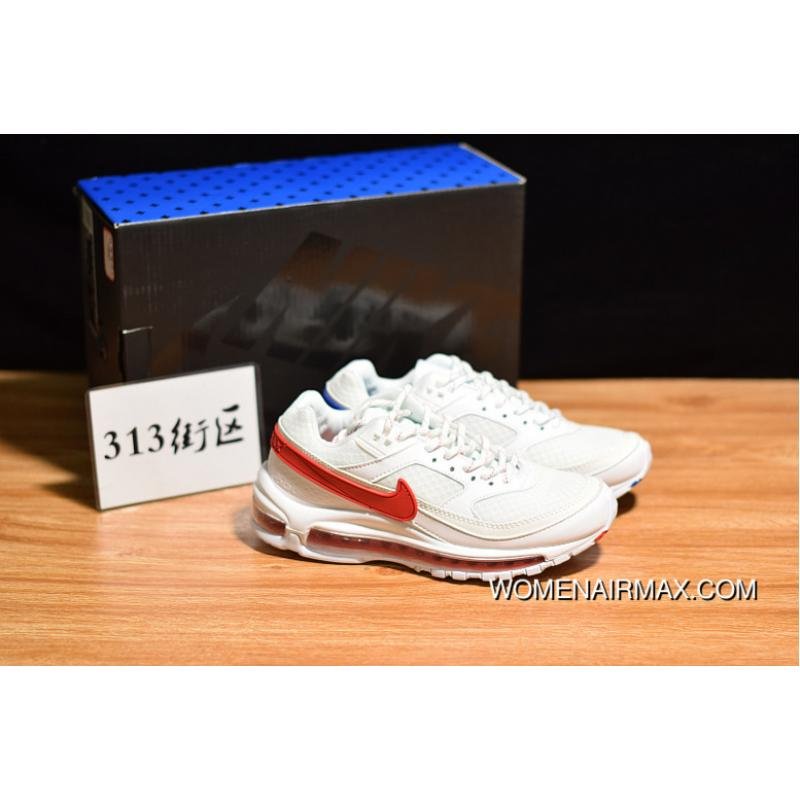 pretty nice 59e37 86faa 313 Blocks Of Pure Original British Musicians Collaboration Skepta X Nike  Air Max 97 BW Blend Retro Zoom Jogging Shoes White Red Blue What The ...