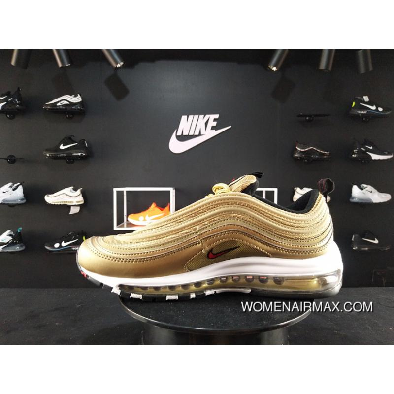 online store 865db 41da2 190 NIKE AIR MAX 97 OG QS Gold Bullet Women Full-palm Cushion Women And Men  Running Shoes 885691-700 For Sale