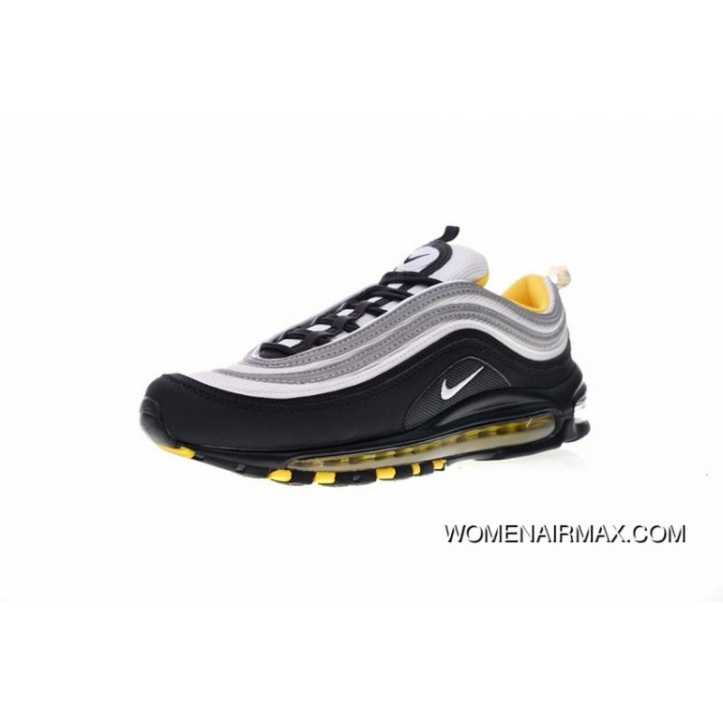 Men Shoes Nike Air Max 97 Series All match Retro Zoom Jogging Shoes Black WHite Lightning Yellow 921522 005 Top Deals