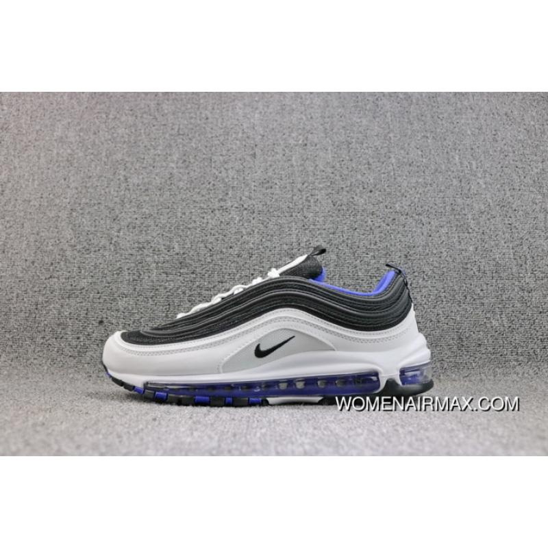 Nike Air Max 97 OG QS White Black Blue Colorways Zoom Running Shoes Women Shoes And Men Shoes 921522 102 New Style