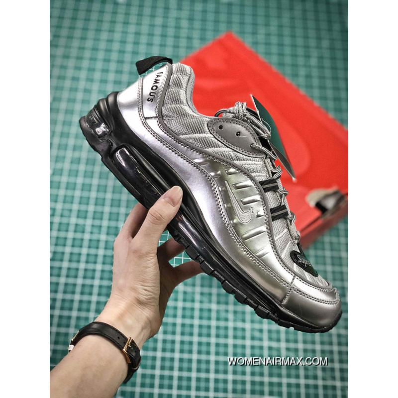 213a6660875959 USD  87.42  253.52. Nike Air Max 98 Retro Zoom All-match Jogging Shoes  Silver Paint Black Men ...