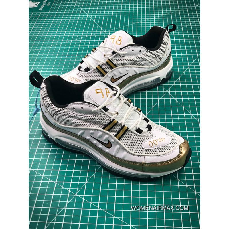 the latest dd32a 736b8 Men Shoes Nike Air Max 98 Retro Zoom All-match Jogging Shoes Paint White  Gold 844694-003 Online