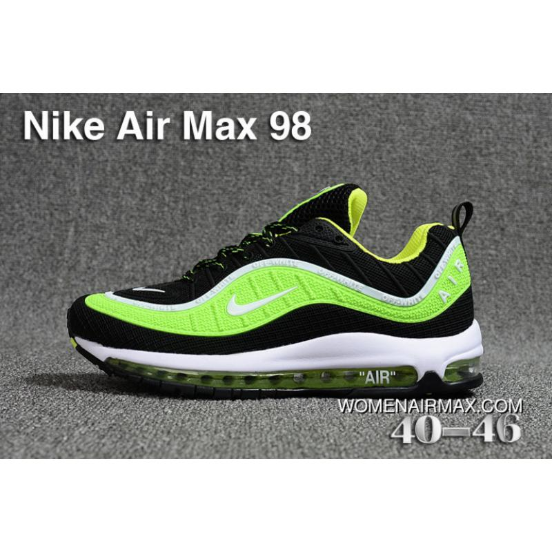 promo code 87aa7 159ef Nike Air Max 98 Men Green Black New Style
