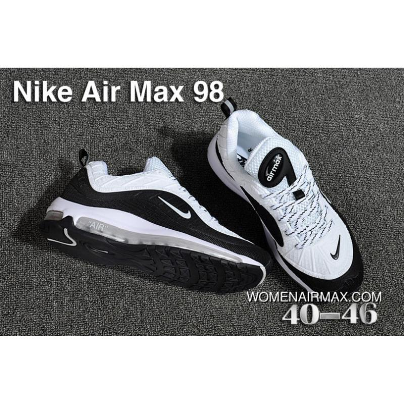 free shipping 48497 5b9fe Nike Air Max 98 Men White Black Outlet