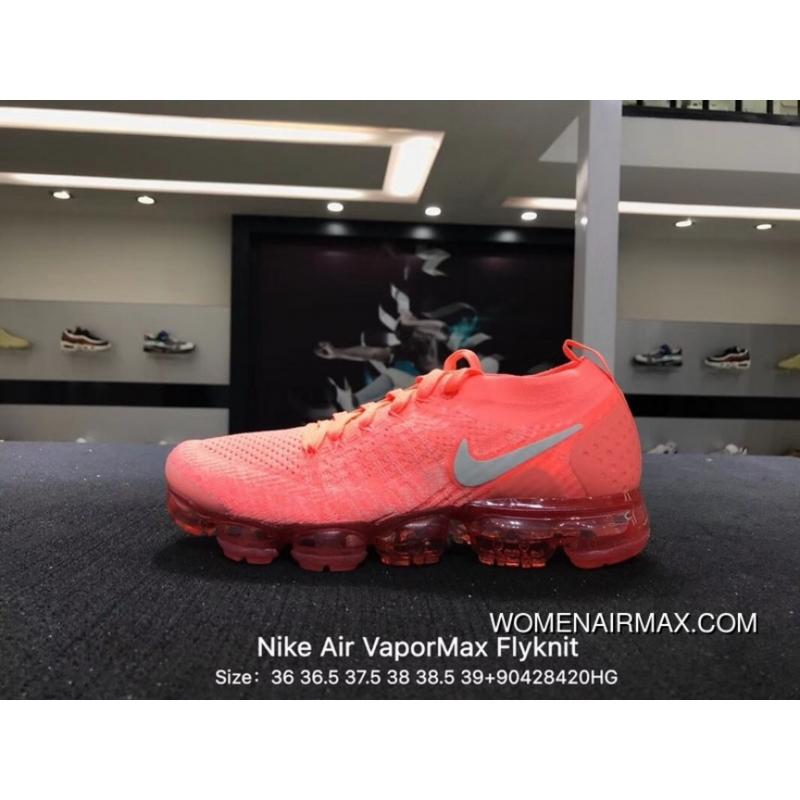 wholesale dealer f7bf5 83827 2018 2.0 Zoom Air Nike Authentic Air VaporMax Flyknit Flashing Red Cloud  Sail White Coral Grey Size 9042 942843-800 For Sale