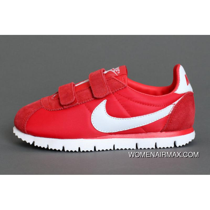 competitive price 5ac8a 488cf Nike Cortez Soft Bottom Kids Shoes Red White Outlet