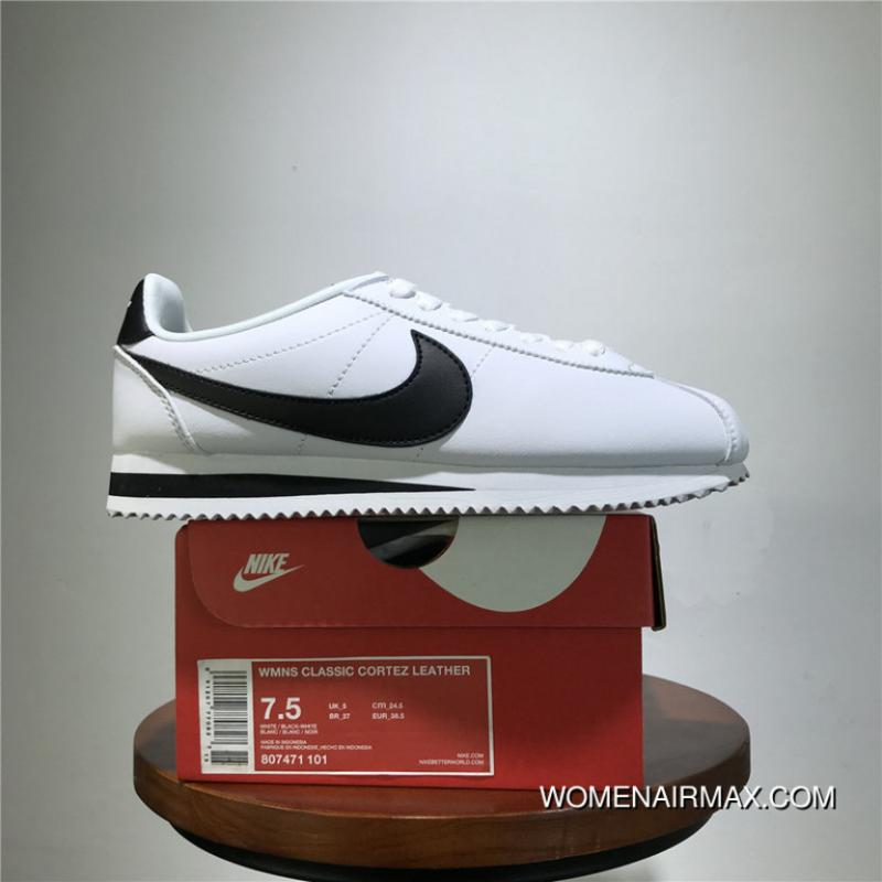 best service eb426 87fc8 Classic Nike Cortez Classic Leather Cortez Retro Original Leather Jogging  Shoes White Black Size 807471-101 Best