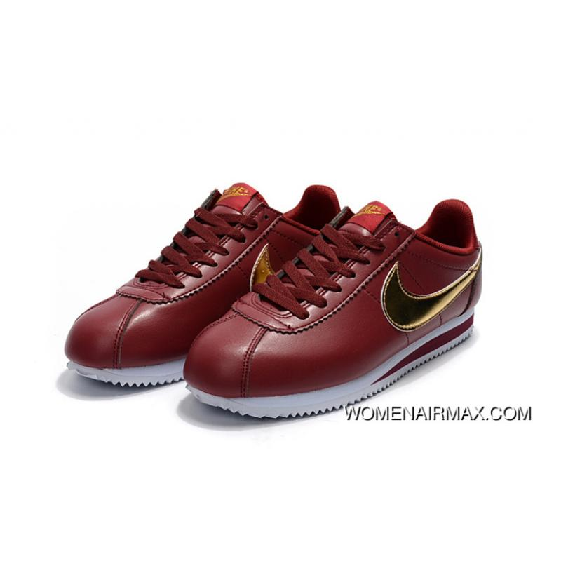 wholesale dealer d5a7c d583d Nike Cortez Leather Red Gold New Style