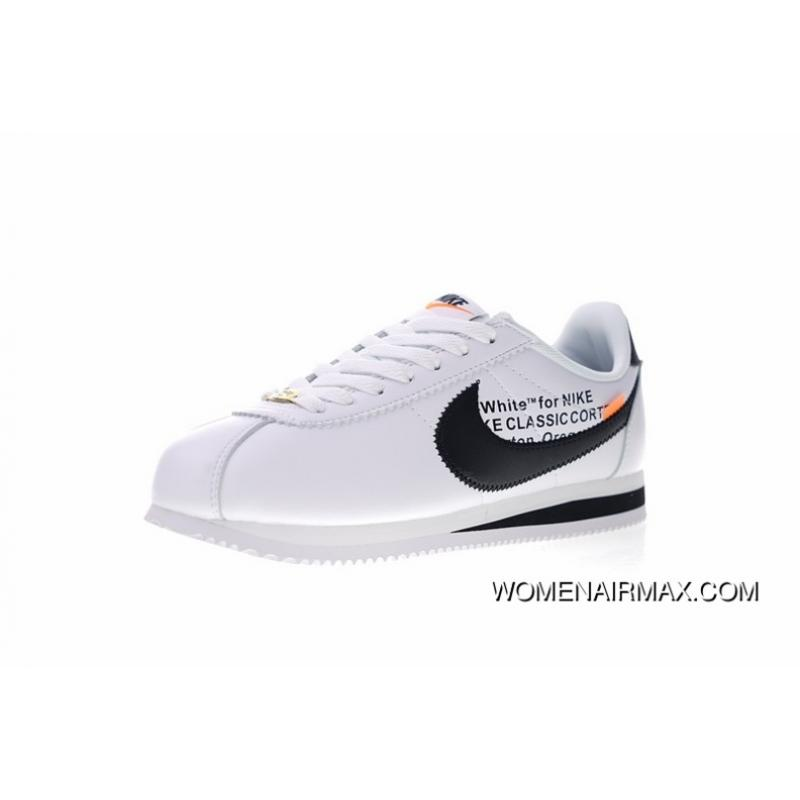 huge discount 3f45e ad270 Creative Customized Virgil Abloh Designer Collaboration X Cortez Nike  Classic Leather Cortez Retro Original Leather Jogging ShoesOW Leather White  ...