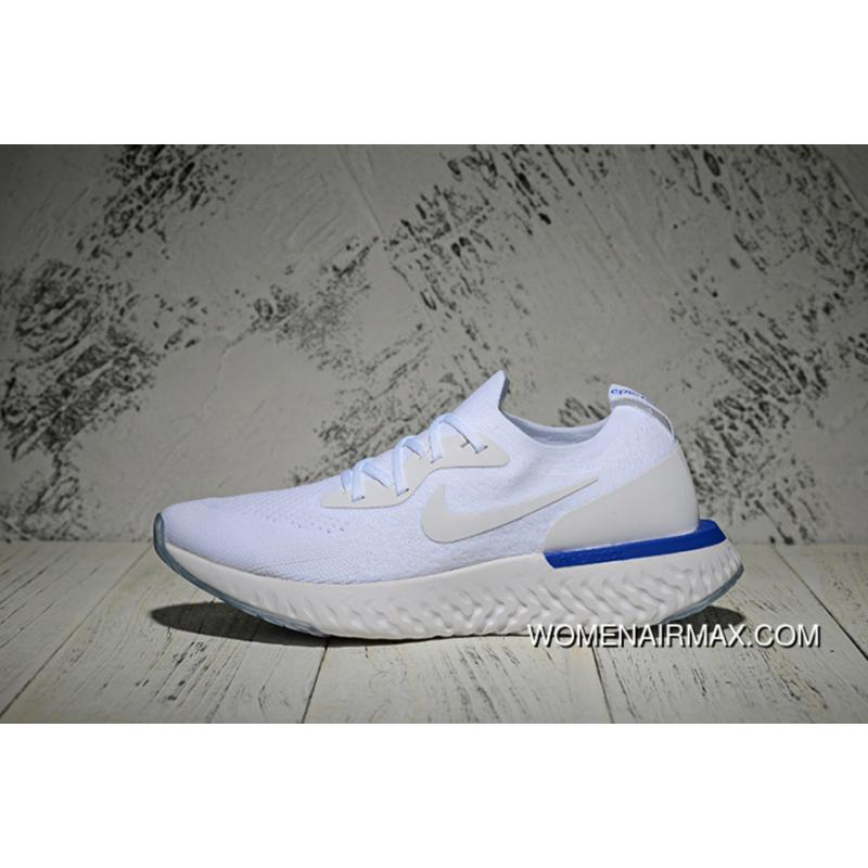 7da6f2d4d0041 Nike Epic React Flyknit Running Shoes Men Shoes White Blue White ...