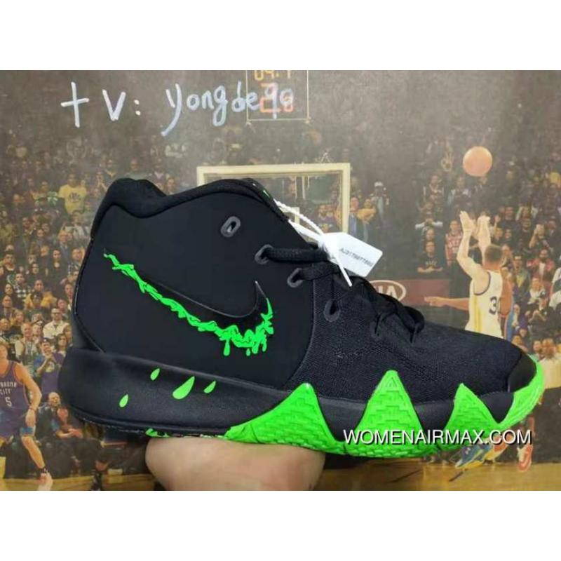huge discount 8a2b1 88a83 Nike Kyrie 4 Halloween Spooky Black Green For Sale