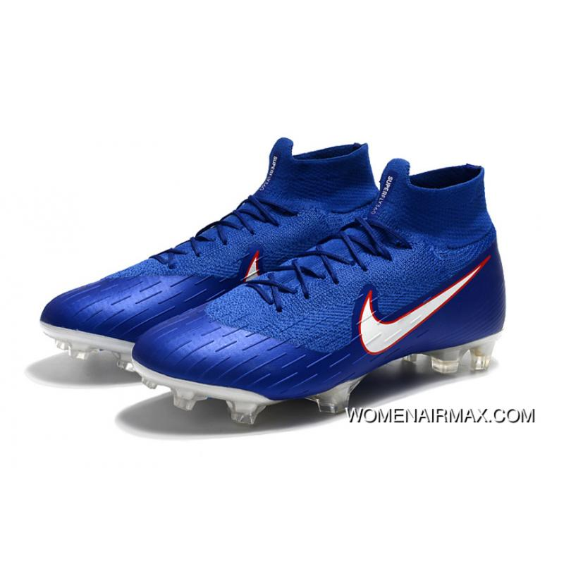 new products 9f612 3cdb3 Arrived The Nike Mercurial 2.0 Blue And White Knitting Flyknit 360  Technology Waterproof FG Nail Soccer Shoes Mercurial Superfly VI 360 Elite  FG Free ...