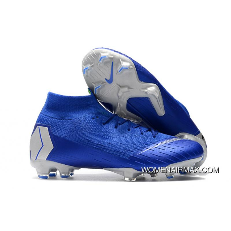 classic styles buy sale new release Arrived The Nike Mercurial 2.0 Blue Silver Knitting Flyknit 360 Technology  Waterproof FG Nail Soccer Shoes Mercurial Superfly VI 360 Elite FG For Sale