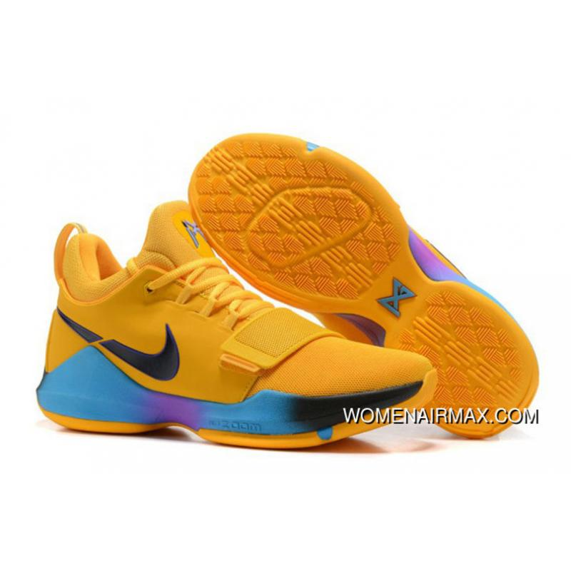 buy online 898e5 11e04 Nike Pg 1 Flip The Switch Gold Blue Purple Pg Basketball Shoes For Sale