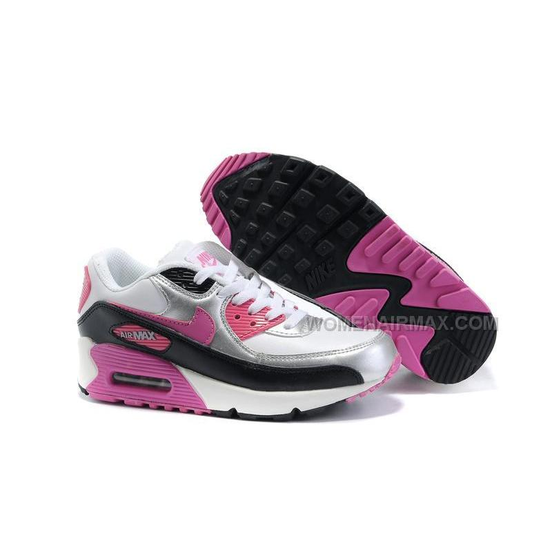 premium selection 00ddd d300f Nike Air Max 90 Womens Shoes Wholesale Slivery Pink Black White