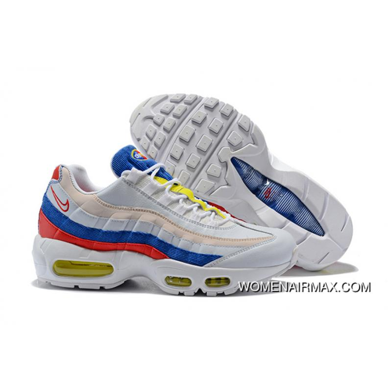 huge discount dbada c3f52 Nike Air Max 95 Se Tricolor Red Yellow Blue Color Matching Corduroy Zoom  Air Women Running Shoes AQ4138-101 Outlet