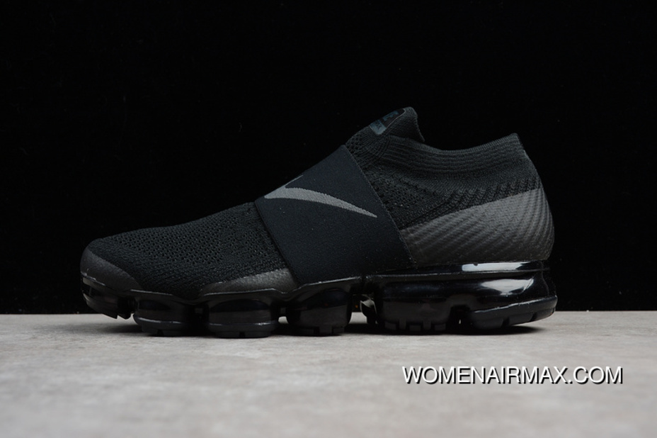 pretty nice a937a ab493 2018 SG Version Nike Air VaporMax Laceless Without Lace-up Slip-on Steam  Zoom Air Running Shoes Triple Black AH3397-004 Women Shoes And Men Shoes 17  ...