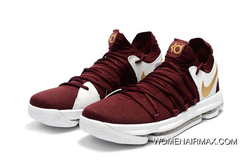 62a4c64e2237 Nike Kd 10 Burgundy White Gold Mens Basketball Shoes New Year Deals ...
