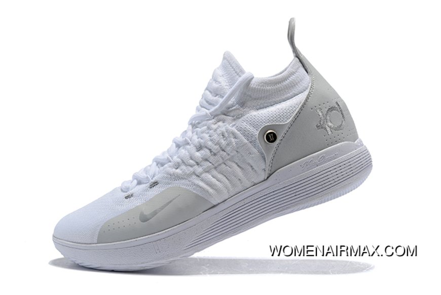 online store 810c1 bfcb3 Men S Nike Kd 11 White Chrome-Pure Platinum Basketball Shoes New Style
