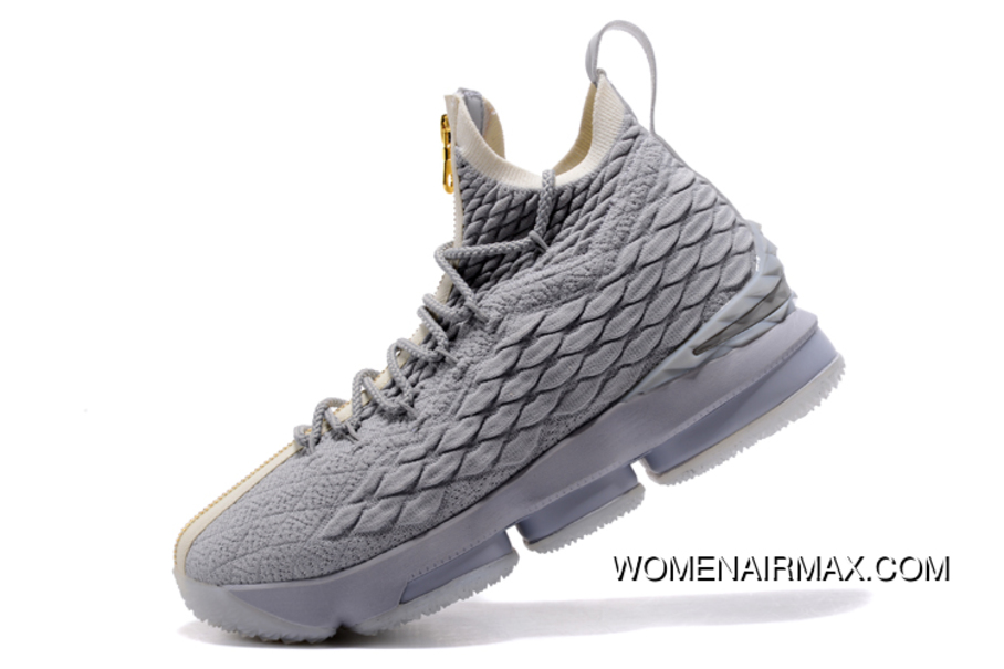 new style a08ea 8f708 Kith X Nike Lebron 15 Wolf Grey/Gold Men'S Basketball Shoes Best