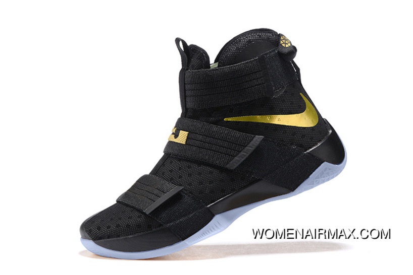 25c4792f1b80 Nike LeBron Soldier 10 Finals Id. Black Gold New Release